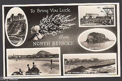 Postcard North Berwick multiview East Lothian Scotland bathing pond etc RP