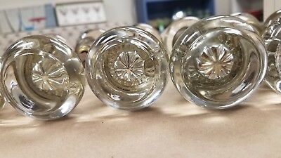 7 Pair, 14  Matching Antique Glass & Star, Rose Mercury Door Knobs w/ Locksets