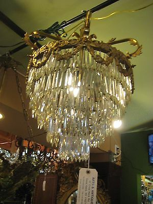 Exquisite Antique Bronze With Crystals Chandelier