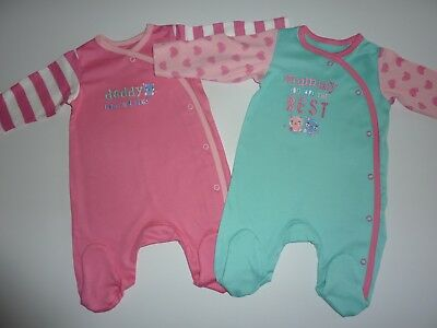 2 Gorgeous Little Girls Mummy & Daddy Sleepsuits First Size (10lbs/4.5kg) NWT