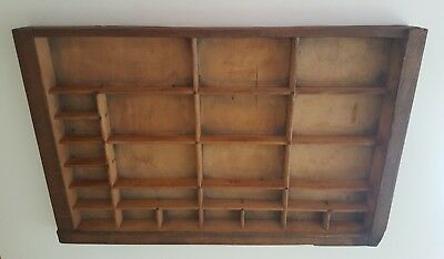 Antique 12x16 Wooden Printers Type Case Drawer Shadowbox Letterpress Tray Wall