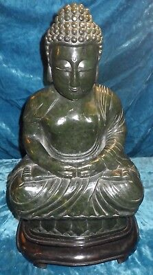"Antique Spinach Jade Chinese 17"" Buddha 49 Pounds Green Jadeite Seated Lotus"