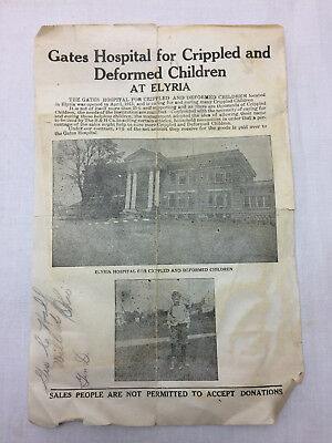 Vintage Gates Hospital for Crippled & Deformed Children Pamphlet paper Elyria OH