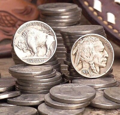 Buffalo/indian Nickels Readable Dates(Five Coin Lot)All Dates And Mints Possible