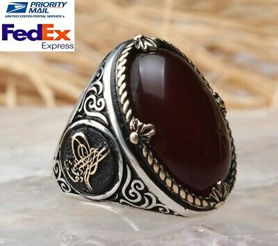 Turkish 925 Sterling Silver İslamic Agate Aqeeq stone Mens mans ring ALL SİZE us