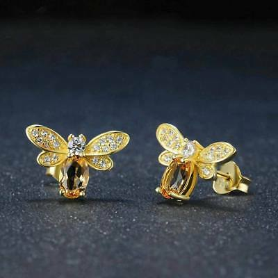 Silver Stud Earrings Bee Citrine Crystal Gift Ideas For Her