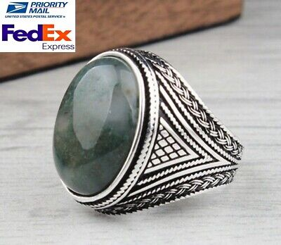 Turkish jewelry 925 Sterling Silver Agate Aqeeq stone Mens mans ring ALL SİZE us