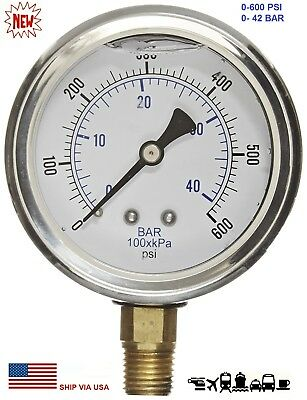 "New 2-1/2"" Hydraulic Liquid Filled Pressure Test Gauge 0 - 600 PSI Lower Mount"