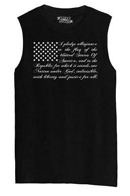 Mens Pledge of Allegiance American Flag Muscle Tank Usa American Pride  Shirt