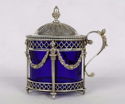 Antique Dutch Solid Silver Mustard Pot with Blue Glass Liner - 83g - .833