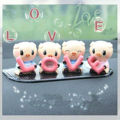 """Set of 4 Cute Resin LOVE Pigs Family Car Table Decoration Ornament """"USA Seller"""
