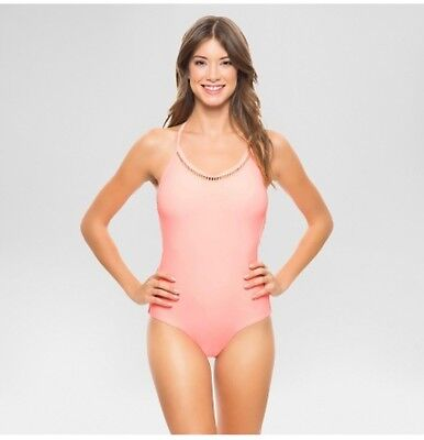 ab5d7c426a VANILLA BEACH Women's Halter V-Neck One Piece Swimsuit Hot Coral, SIZE  XSMALL