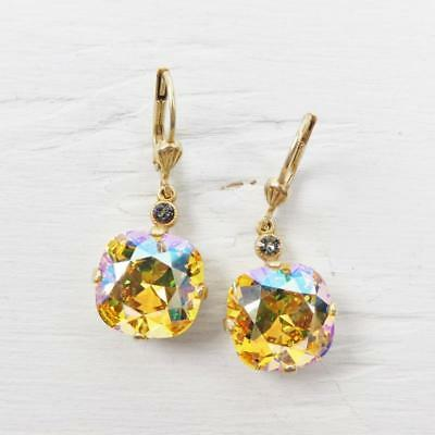 30ed1c6a72ffe LA VIE PARISIENNE Catherine Popesco Large Round Crystal Earrings Topaz  Shimmer