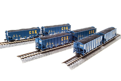 N Scale Broadway Limited 'CSX' 3-Bay Hoppers (6)Car Set. Item #3652