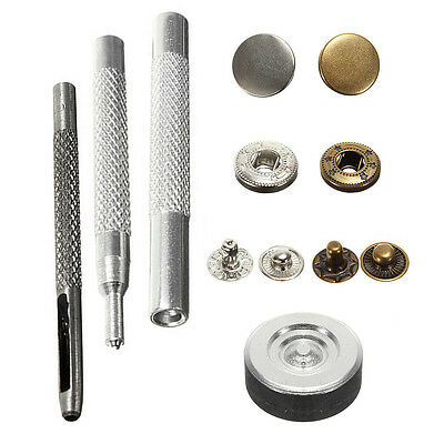 30 Poppers 10mm Snap fastener Press Stud Kit w/Fixing Tool Sewing Leather Craft