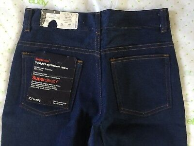 JC PENNEY SUPERWEAR girl's 14 slim 25 X 28 blue jeans NOS USA VTG 1980s NWT NEW!