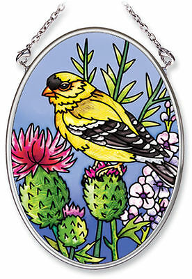 """American Goldfinch Thistle Sun Catcher  3.25"""" x 4.5"""" AMIA Small Oval Handpainted"""