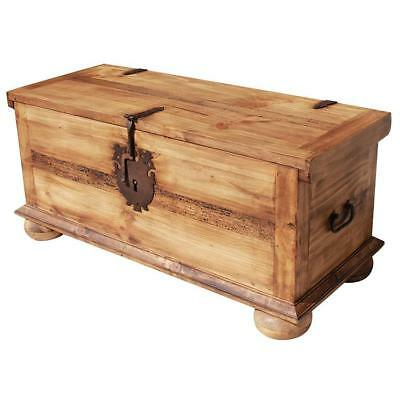 Handmade Full Trunk with Feet in Antique Style Wood Chest Storage Coffee Table