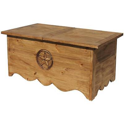 Rustic Star Sliding Top Trunk In Handmade Solid Wood Chest Storage Coffee Table