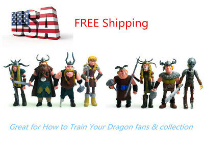 8 Pcs How to Train Your Dragon Hiccup Astrid Stoick Action Figures Toys US STOCK