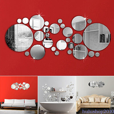 3D 30pcs Circle Mirror Wall Stickers Acrylic Vinyl Decal Home  Art Decor HI9