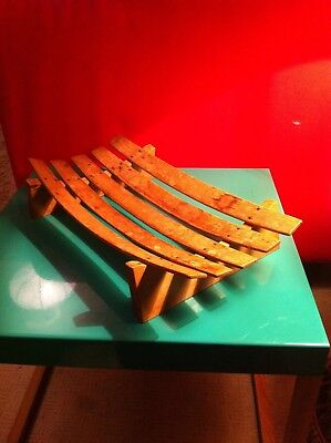 Retro Cool wooden vintage 70's fruit bowl Vegetable stand Mid Century Modern
