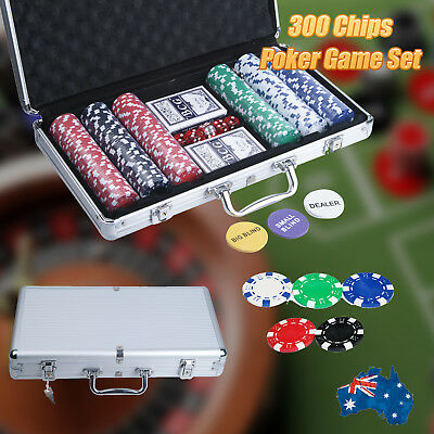 Pro Casino Poker Set 300 Chips with Carry Case and Free Accessories AU Stock