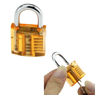 Orange ABS + stainless steel One Slotted Transparent Pratice Padlock w/2 keys