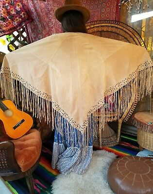 VTG 70s HUGE VINTAGE SUEDE STUDDED LEATHER FRINGE SHAWL WRAP CAFTAN TOP COVER UP