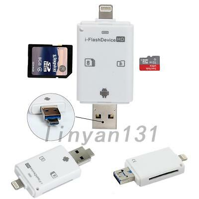 USB Flash Drive Micro SD/TF Memory Card Reader Adapter For iPhone & Android AU