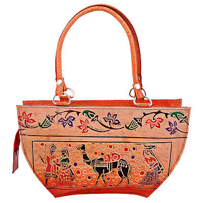 Pure Leather Hand Painted Famous Indian Shantiniketan Ethnic Boho Purse Handbag