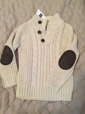 Boys Gap 3t Cream Knit Sweater With Toggles And Faux Fur New With Tag