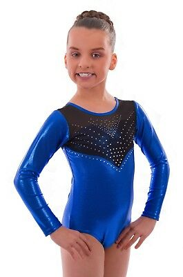 4a0a2e9ef9a1 DELUXE  SPIN  METALLIC Foil Girls Sleeveless Gym Lycra Leotard for ...