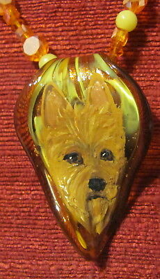 Australian Terrier hand painted on Murano glass leaf pendant/bead/necklace