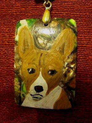 Basenji hand painted on a rectangular Agate pendant/bead/necklace