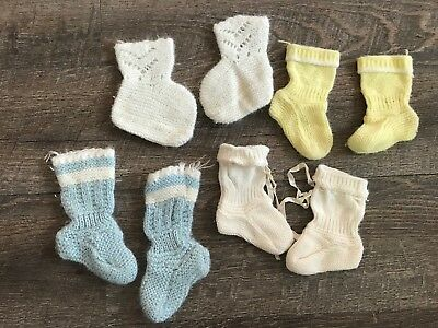 Vintage Baby Knit Socks Lot of 4 Pairs - Blues Yellow Ivory 50s Handmade