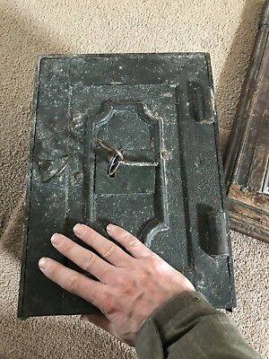 Antique Georgian Small Travelling Iron Safe With Key Off Stagecoach Ship 14 Inch