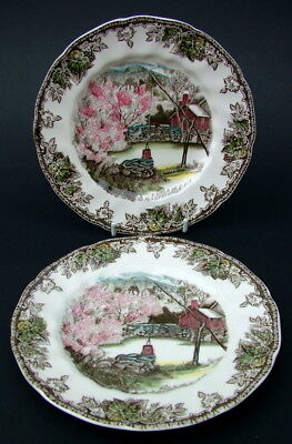 TWO Johnson Brothers Friendly Village Lg Side Plates 18cm The Well - Look in VGC