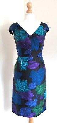 Ladies Hobbs Colourful Floral Silk &wool Wedding Occasion Pencil Dress Uk 8 Vgc