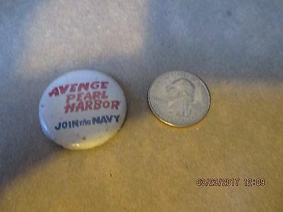 Original Wwii Homefront Avenge  Pearl Harbor Rwb Join The Navy Button
