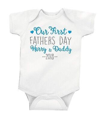 Our First FATHERS DAY Personalised Silver Glitter Baby Boy Grow Vest Free P&P