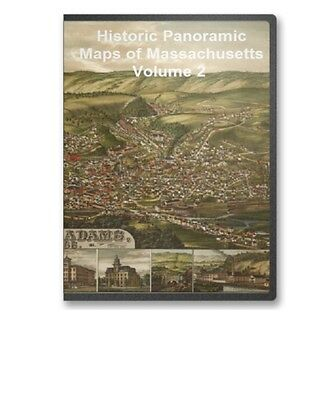 Massachusetts MA - 60 Vintage Panoramic City Maps CD V2 - B163