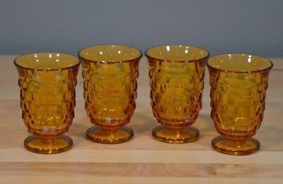 Vintage Whitehall Amber Glass Footed Juice Glasses tumblers set of 4 retro