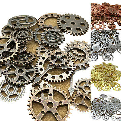 AU_ 100g Antique Steampunk Cog Gear Clock Wrist Watch Pendant DIY Jewelry Fashio