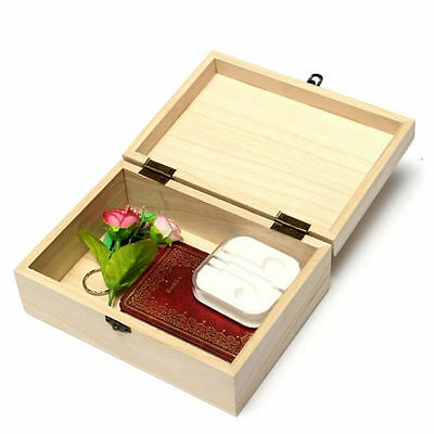 AU_ Plain Unpainted Wooden Tool Storage Box Memory Small Chest Craft Box Novelty