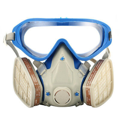 AU_ Full Face Gas Mask & Goggles Respirator Paint Chemical Mask Dustproof love