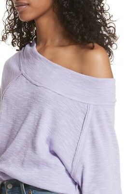 9297164e6bf538 New Free People Palisades Off Shoulder Thermal Sweater Top Cozy Shirt Purple