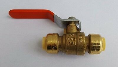 "1 Piece 1/2"" Sharkbite Style Push Fit Ball Valve - Full Port, Lead Free, Nsf"