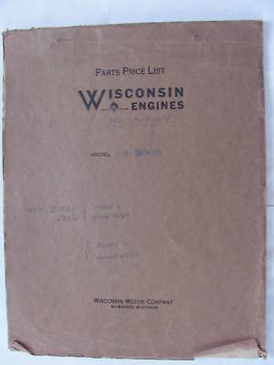 Wisconsin Engines Model AS 2006 Parts Price List Manual