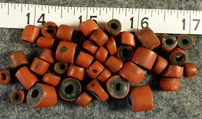 (10) Original Hudsons Bay Co Green Heart Indian Trade Beads 200+ Year Old Larger